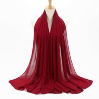 vestido de matrimonio rojo al por mayor-13 estilos Bonete hijab Sombrero de gasa Mujeres musulmanas Musulmán Sólido Suave Bufanda Bufandas Hijab Wrap Shraps Diadema capo Islam F300316
