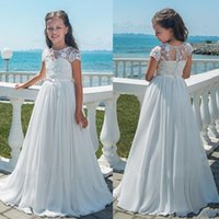 Wholesale black flower girl dress chiffon for sale - Group buy Girls Long Chiffon Flower Girl Dresses Bridesmaid Party Pageant Dresses A Line Lace Girls Pageant Gowns White First Communion Dress