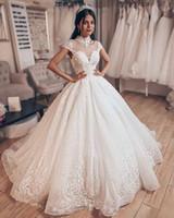 vestidos de novia increíble princesa al por mayor-Increíble vestido de bola de princesa de alta calidad Vestidos de novia 2019 cuello alto Dubai Vestidos de novia árabes Vestidos de novia de encaje con cuentas brillantes