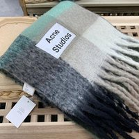 Wholesale gold color scarf resale online - Acne Studios high quality color Wool scarf new rainbow grid fringed shawl for male and female