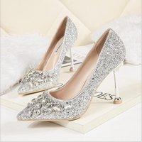 elmas gümüş balo ayakkabıları toptan satış-2019 Toptan-Moda Gelin Rhinestone Kristal Elmas Glitter Yüksek Topuklu Parti Balo Seksi Gümüş Topuklu Düğün Kadın Ayakkabı Pompalar
