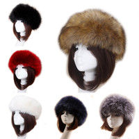 serre-tête achat en gros de-Unisexe épais fausse fourrure fausse fourrure hiver euro-américain oreille au chaud chapeau de ski en peluche tête bandes de cheveux
