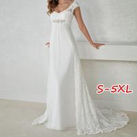 kapaklı manşon kristal saf sevimli toptan satış-Kadınlar Yüksek Kalite Moda Zarif Dantel Patchwork Beyaz Gelinlik V Yaka Maxi Elbise Gelin Elbise Ülke Çar Elbiseler