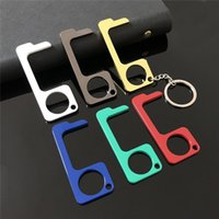 Wholesale color hooks resale online - New color Metal Safety Touch less EDC Door Opener Stylus Key Hook Hands Free Door Handle Stylus Key chain T9I00354