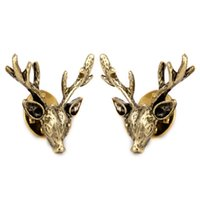 Wholesale bronze candles for sale - Group buy 1 Pair of Antique Bronze Alloy Shirt Collar Clips Tips Gift Reindeer Shape