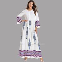 túnicas blancas islámicas al por mayor-7528 Dubai Abaya Mujeres Blanco alineada de los musulmanes de Turquía Kaftan Bangladesh Plus Tamaño de la ropa islámica de impresión de la manga larga Robe Maxi vestidos