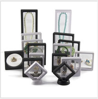 Wholesale float frames for sale - Group buy Clear D Jewelry Floating Frame Display Case Shadow Box With A Stand Holder Rings Pendant Necklace Coins Medals presentation Case Boxes
