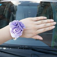 Wholesale white flower lilacs resale online - In Stock Lilac Satin Rose Pearl Beaded Wrist Flowers Bridal Marriage Wrist Corsages Artificial Hand Flower Party Decor SW0600