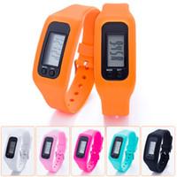 contadores de distancia digitales al por mayor-Digital LED podómetro reloj inteligente silicona correr paso a pie distancia contador de calorías reloj pulsera electrónica podómetros de color ZZA702