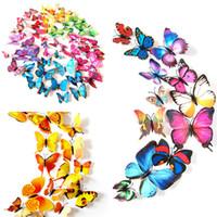 aimants pvc achat en gros de-12PCS / LOT 3D Papillon Mur Autocollant Aimant Réfrigérateur Autocollants 3D Papillons Broche Amovible PVC Décoration Murale de Bande Dessinée pour la Fête Tissu A21504