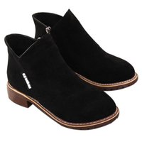 Wholesale black head scrub resale online - AUAU Round Head Boots Women S Boots Scrub Sanded Heel Casual Casual Wild Short Tube Student Shoes