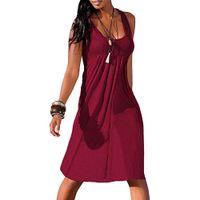9f3e55fa28ab Fashion Summer Dress Sexy Dress Women Casual Solid Sleeveless Plain Pleated  O-Neck Above Knee Mini Dress Girl 2019
