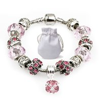 rosa diamant anhänger großhandel-Silber Kette Fit Pandora Logo Armbänder Frauen Rosa Murano Glas Kristall Perlen Armbänder Diamant Perlen Anhänger Armreif Schmuck Party Geschenk P73