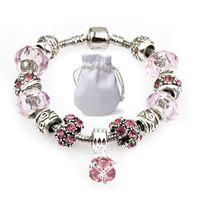 Wholesale murano snake pendants resale online - Silver Chain Fit Pandora Logo Bracelets Women Pink Murano Glass Crystal Beads Bracelets Diamond Beaded Pendant Bangle Jewelry Party Gift P73