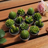 ingrosso doni di piante sveglie-12pcs Cactus Candela Carino Mini Set Succulente artificiale Piante del migliore regalo di natale Candele della decorazione della casa del tè a lume di candela