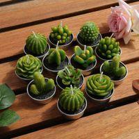 presentes do cacto venda por atacado-12pcs Cactus Vela bonito Mini Set Suculenta Artificial Plantas melhor presente de Natal Velas Decoração Vela Velinha