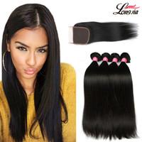 jungfräuliches menschliches haar zum weben großhandel-8A Glattes Haar mit Bündelung Brasilianisches Jungfrau-Menschenhaar mit Schnürung 4x4 Brasilianische Haarwebart bündelt natürliche Farbe