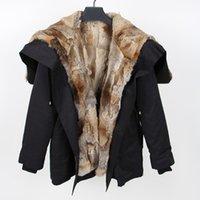 revestimento de revestimento de inverno removível venda por atacado-Oversize midi longo parkas inverno casaco de peles com peles de coelho removível Liner Angel-asas de facilitação