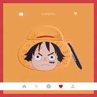 llavero de una pieza de anime al por mayor-Para AirPods Funda para auriculares Silicona protectora One Piece Anime Doraemon A prueba de golpes Dibujos animados Auriculares Bluetooth Accesorios Llavero Anti Perdido