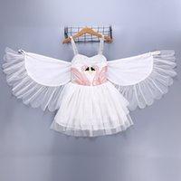 engel flügel für babys großhandel-Baby Taufkleid Taufkleid Swan Wings Angel Flamingo Hosenträger Weste Prinzessin Kleid Kinder Boutique Kinder Designer Mädchen Kleider