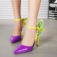 mariposa llena sexy al por mayor-Pop2019 tienda mixta lote completo Sharp Heel Butterfly High con zapatos de mujer con un solo zapato sexy