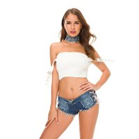 sexy super spitzen shorts groihandel-Casual Denim Boyshorts Chic Side Lace-up Hosen 50% Frauen Super Mini Zerrissene Jeans Low Waist Sexy Mädchen Shorts Hot Gesäß Hosen