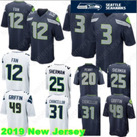 c817c5826 Seattle 3 Russell Wilson Seahawk Jersey 49 Shaquem Griffin 12 Fan 31 Kam  Chancellor 25 Richard Sherman 20 Rashaad Penny Stitched Jerseys
