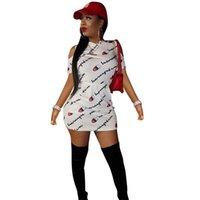 senhoras vestido com capuz venda por atacado-Marca campeão Mulheres Vestidos Designer Cartas Com Mangas Curtas Com Capuz Senhoras Vestidos de Verão Das Mulheres Roupas Plus Size Bodycon Vestidos C62505