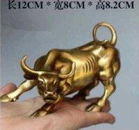 bronz öküz toptan satış-Boyutu: 12 cm Büyük Duvar Sokak Bronz Fierce Bull ÖKÜZ Heykeli-Pirinç Sanat Bronz Bakır heykel ev dekorasyon