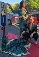 kadınlar için mütevazi gece elbiseleri toptan satış-Mütevazı V Boyun Mermaid Uzun Kollu Gelinlik Modelleri Dantel Aplikler Abiye giyim Yeşil Kadınlar Için Afrika Parti Elbiseler