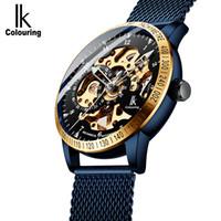 ik coloração venda por atacado-Ik Coloração Mens Relógios de Malha Banda de Aço Inoxidável Mecânico Automático Masculino Relógio Esqueleto Steampunk Relogio masculino Y19051603