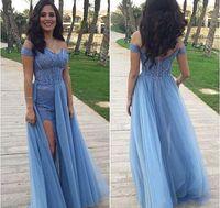 zuhair murad chiffon azul largo al por mayor-Sexy Sky Blue Split vestidos de noche 2019 Zuhair Murad largo fuera del hombro con cuentas una línea de gasa formal de la mujer llevar vestidos de baile