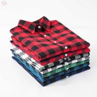 camisa camisa de flanela preta vermelha venda por atacado-New Mulheres Blusas longos da luva do preto vermelho da flanela de algodão Camisa Xadrez Casual Feminino Plus Size Blusa Tops Roupa