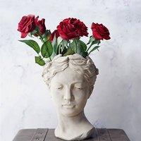 Wholesale sculpture heads resale online - Echootime Greece Cement Sculpture Vases Balcony Colourful Dry Flowers European Style Vase Human Head Godness Flowerpot Home Decor