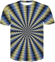 ingrosso sconto estivo uomini camicie-Sconto disegno casuale allentato stampato abbigliamento estivo T-shirt nuova vertigini astratta stereogram Stampa manica corta di abbigliamento T-shirt Sport