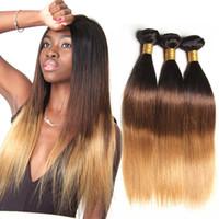 insan saç uzantıları kraliçeleri toptan satış-Ombre saç düz 1 b 4 27 1/3/4 Demetleri Brezilyalı Vücut Dalga Demetleri Ombre Saç Paketler Remy İnsan Saç Uzantıları ishow gaga kraliçe xbl