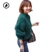 jerseys gruesos de gran tamaño al por mayor-Mujeres Pullover Manga de la linterna Grueso Gran Tamaño Tire Sólido Verde Suéter 2018 Otoño Invierno Mujer Causal Suéter de Punto S118
