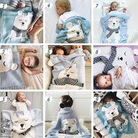 beyaz yorganlar toptan satış-Bebek battaniye ins Beyaz Ayı Kulak Örgü Battaniye Çocuk Plaj Mat çocuk kundaklama wrap battaniye Yatak Mat Uyku yatıştırmak Malzemeleri Yorgan