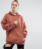 linda sudadera roja con capucha mujer al por mayor-2019 Sudaderas con capucha de estilo coreano para mujer Sudadera de manga larga de color sólido Otoño Lindo Sudadera con capucha roja roja Tallas grandes Casual Tops