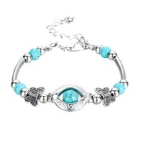 boho mode für männer großhandel-Türkis Armbänder für Frauen Männer Boho Vintage Schmetterling Charme Anhänger Armband Armreif Modeschmuck Böhmischen Armband