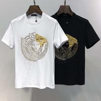 erkek yuvarlak v boyun toptan satış-V ev Avrupa istasyonu yaz erkek gömlek yeni gelgit marka Fan Jiabo noktası baskı erkek rahat yuvarlak boyun kısa kollu Tişört