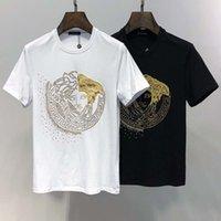 shirts punkte groihandel-V Heimat europäischen Station Sommer Herrenhemd neue Flut Marke Fan Jiabo Punktdruck Männer Casual Rundhals Kurzarm-T-Shirt