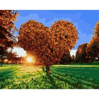 Wholesale oil paintings trees for sale - Group buy DIY Oil Painting By Numbers Love tree CM Inch On Canvas For Home Decoration Unframed