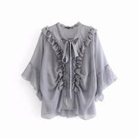lila hemden für damen großhandel-Transparente Frauen Chiffon Bluse Sommer 2019 Neue Mode Weiß Lila Grau Gebundener Bogen Kragen Rüschen Shirts Moderne Dame Tops