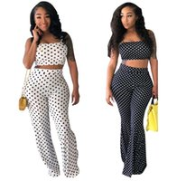 patrones de ropa sexy al por mayor-Patrón de lunares Sexy Moda Mujer Chándal camisola Trajes de dos piezas Tallas grandes Ropa de mujer Pantalones grandes