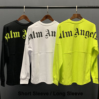 t-shirts porzellangelb großhandel-Palm Engels-T-Shirt Weiß schwarze Buchstaben drucken T-Shirt Männer Frauen Maxi-T-Shirt Hip Hop Street Tops Palm Engel T Shirts LXG1203