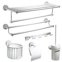 bagues de toilette achat en gros de-Accessoires de salle de bains en acier inoxydable à peindre blanc accessoire porte-papier toilette porte-serviette anneau monté