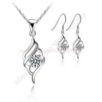 Wholesale newest wing jewelry for sale - Group buy Newest Angle Wing Flying Nice Jewellery Pendant Necklace Korea Stylish Earring Jewelry Sets quot Chain