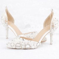 Wholesale bridesmaid shoes rhinestones for sale - Group buy 2019 White Pearl Festival Event Party Shoes Inches High Heel Pointed Toe Wedding Bridal Shoes with Ankle Straps Bridesmaid Shoes