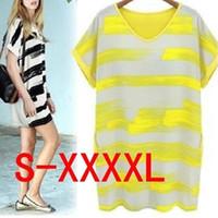gelbes schwarzes patchworkkleid großhandel-Damen Kurzarm Plus Size Patchwork Übergroße gemalte Streifen Lose Mini T-Shirt Kleid S-4XL Mutterschaft tragen Gelb Schwarz Rose Rot